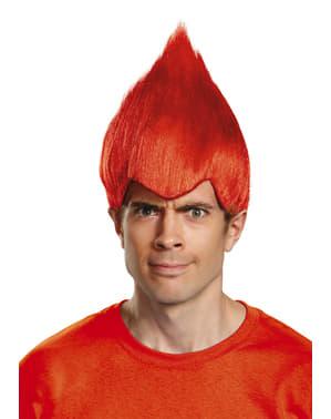 Peruca de Trolls vermelha para adulto