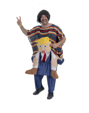 Kostým piggyback Mexičan jede na Donaldu Trumpovi