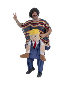 Piggyback Mexicaan berijd Donald Trump kostuum