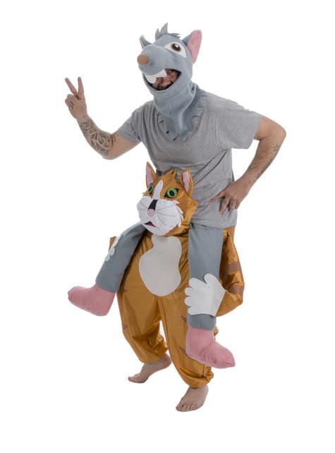 Disfraz de Ratón sobre gato ride on para adulto
