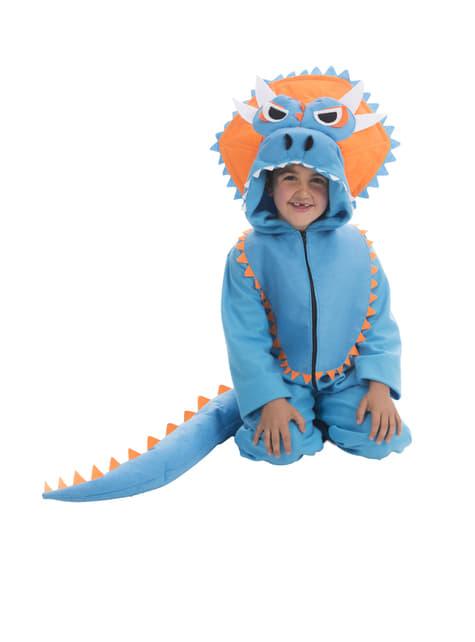 Disfraz de triceratops azul infantil