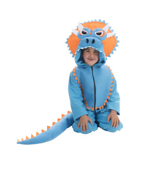 Déguisement dinosaure Tricératops bleu enfant