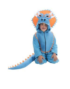 Disfarce de dinossauro Triceratops azul para criança