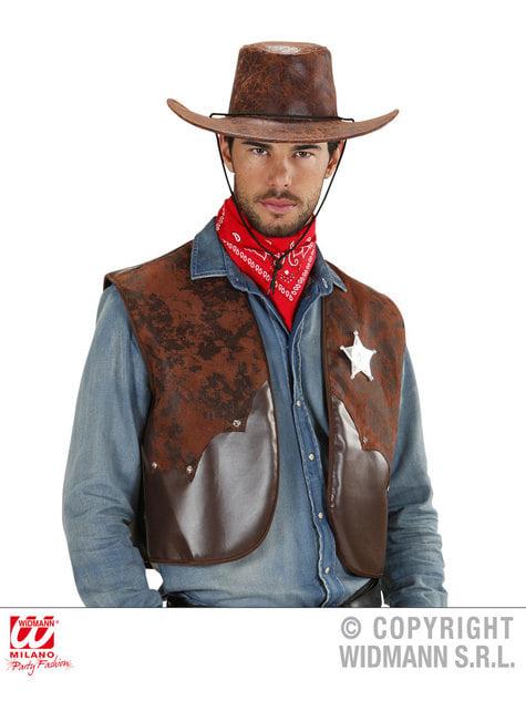 Colete cowboy castanho para homem