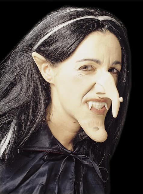 Nariz, orelhas e queixo de bruxa