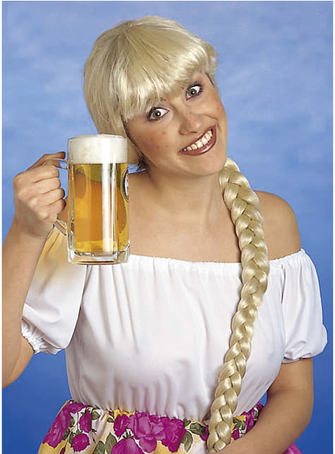 Blonde Perücke mit langem Zopf für Damen