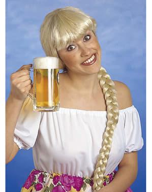 Parrucca buonda con treccia lunga per donna
