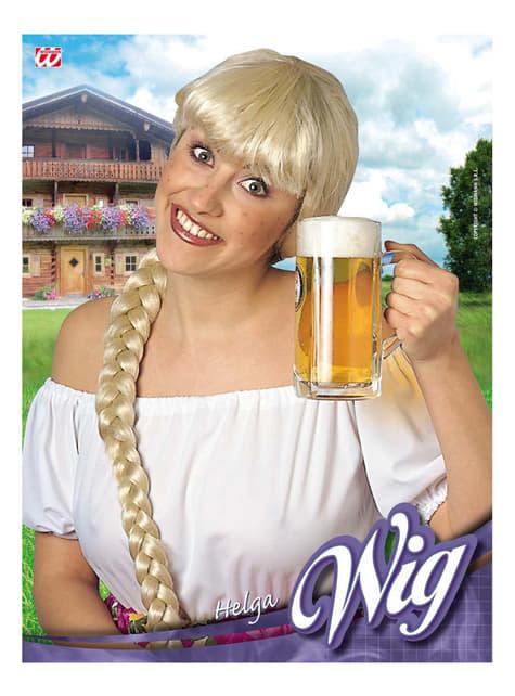 Lange blonde pruik met vlecht voor vrouwen