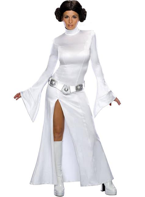 Seksikäs valkoinen Prinsessa Leia -asu aikuisille