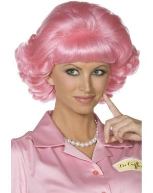 Frenchy van Grease roze pruik