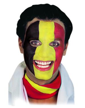 Maquillage rouge, jaune et noir