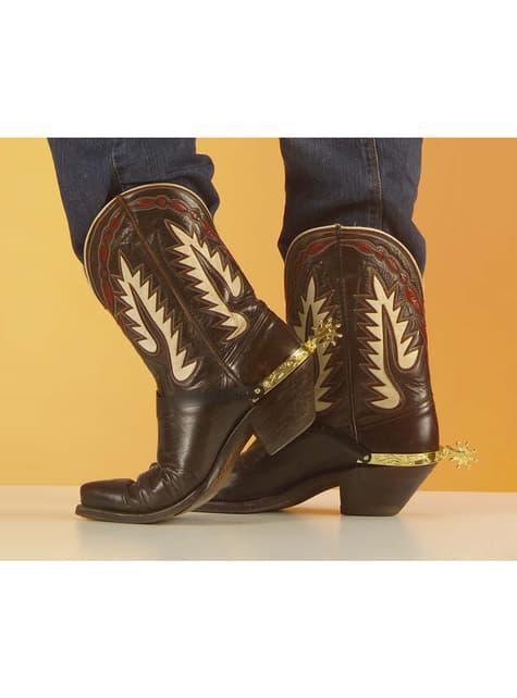 Esporas douradas de vaqueiro para os sapatos