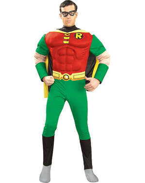 Kostým pro dospělé s vyrýsovanými svaly Robin