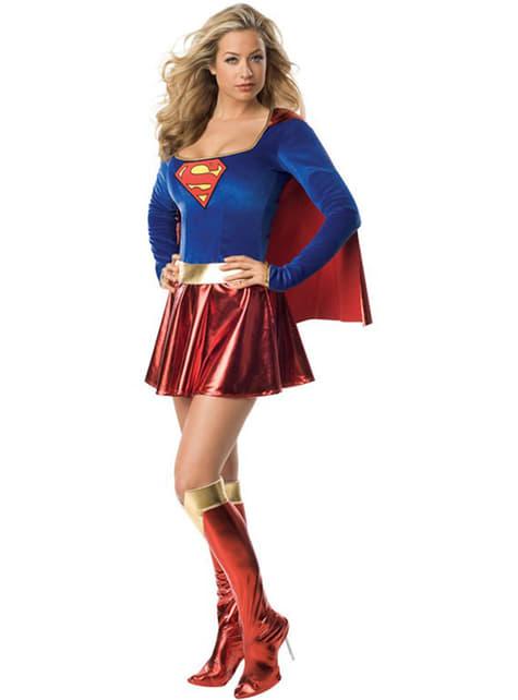 Sexy Supergirl Helte Voksenkostyme