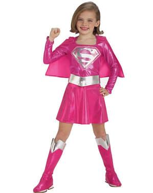 Rosa Supergirl Barnekostyme