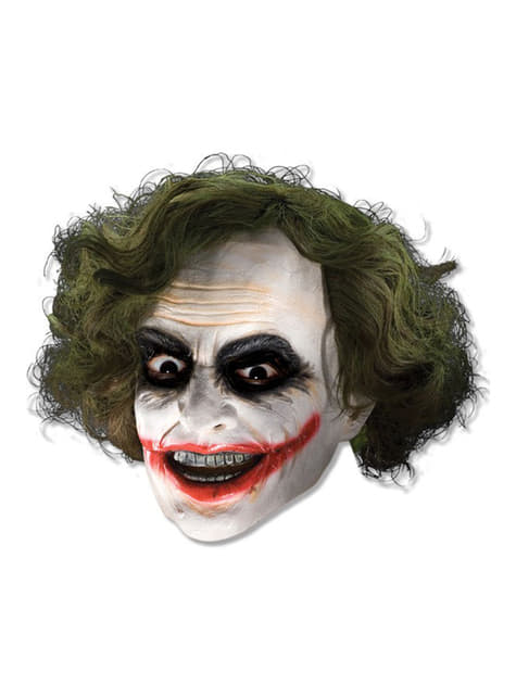 Mască 3/4 de vinil Joker cu perucă