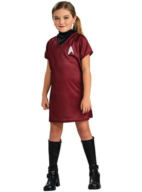 Costume Uhura Star Trek rosso da bambina