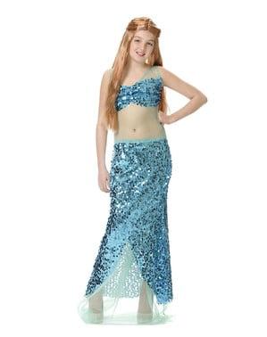Costum de sirenă albastră pentru fată