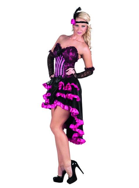 Costum de cabaret negru și roz pentru femeie