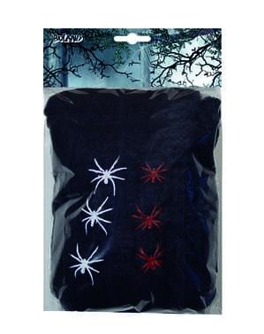 Toile d'araignée noir avec 6 araignées 100 gr