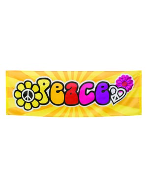 Striscione festa hippie ''Peace''