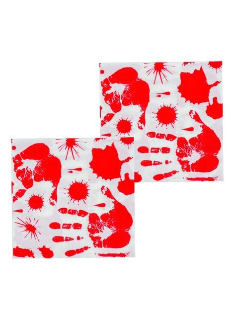 12 serviettes mains en sang