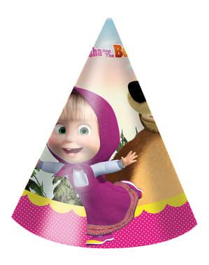 Έξι Μικρά Καπέλα για Γενέθλια Masha and the Bear