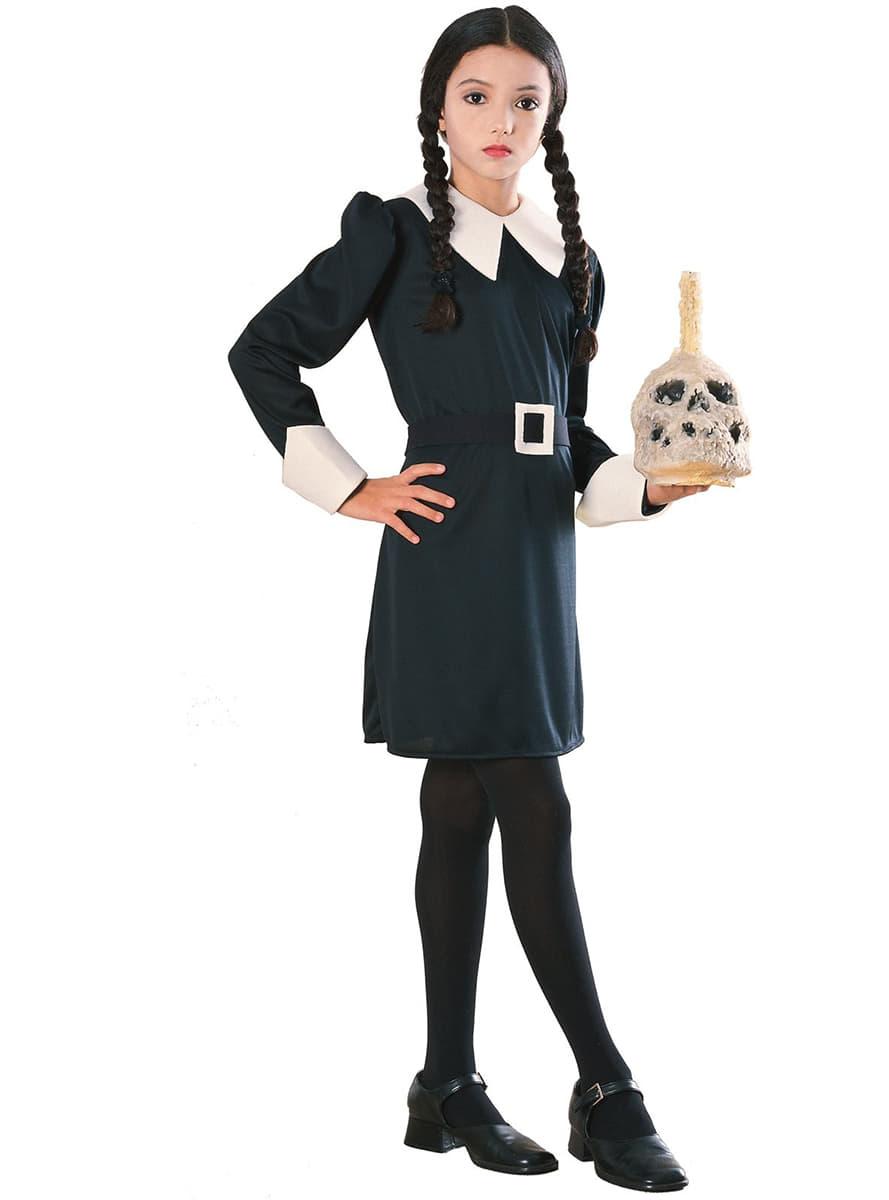 costume de mercredi la famille addams pour fille acheter en ligne sur funidelia. Black Bedroom Furniture Sets. Home Design Ideas
