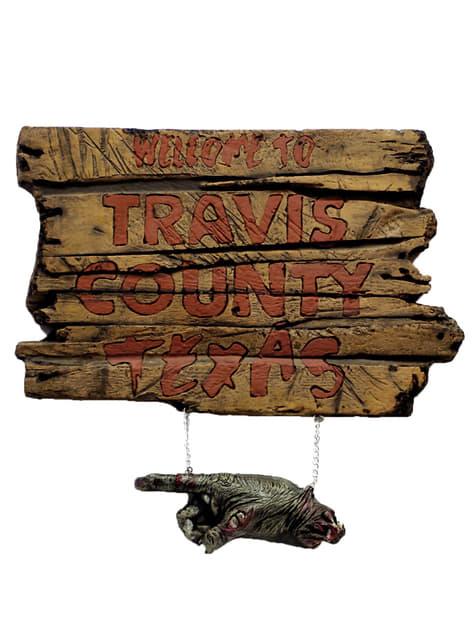 Straßenschild Travis Country aus Blutgericht in Texas