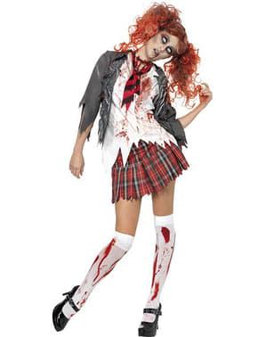 Kvindelig zombie studerende kostume