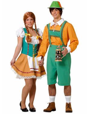 Dirndl Kostüm in Orange Grün