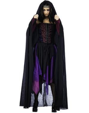 Zwarte heksen cape voor vrouwen