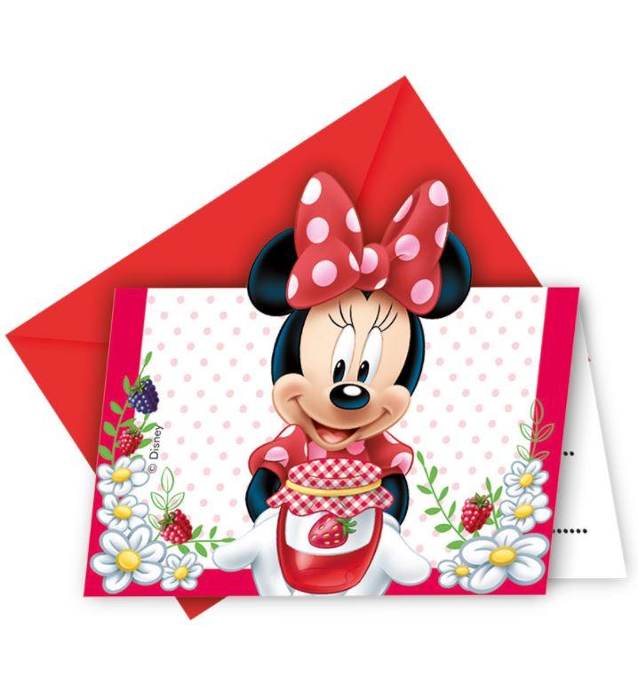 Invitaciones Minnie Mouse roja