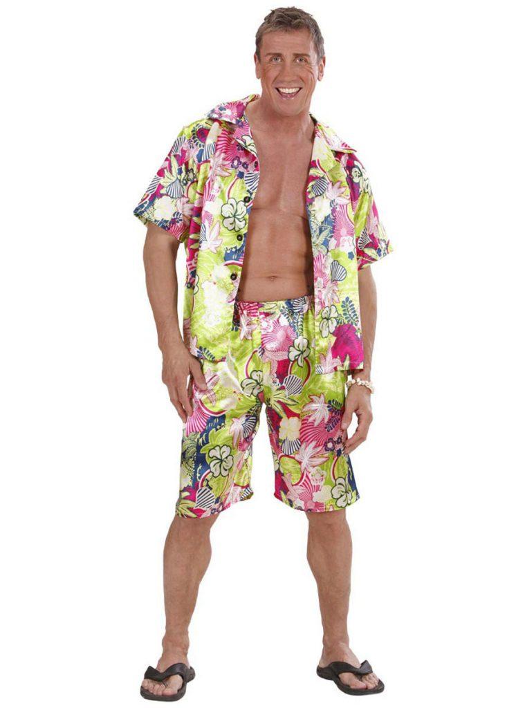 Disfraz hawaiana feliz hombre