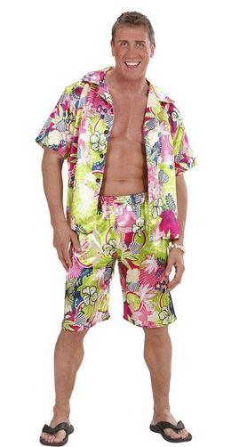 disfraz hawaiano feliz