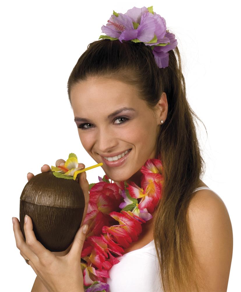Kit de coco y pajitas hawaianas