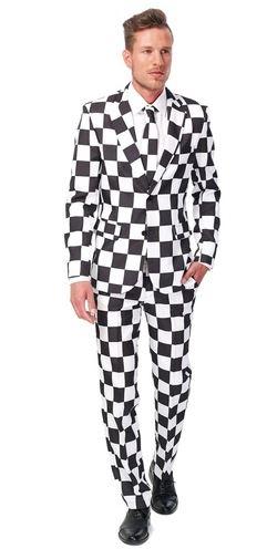 traje cuadros blanco y negro