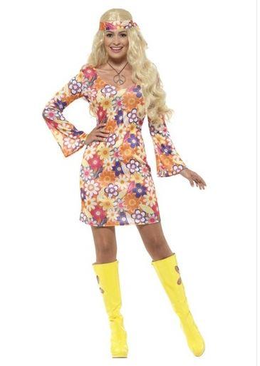 disfraz hippie floreada