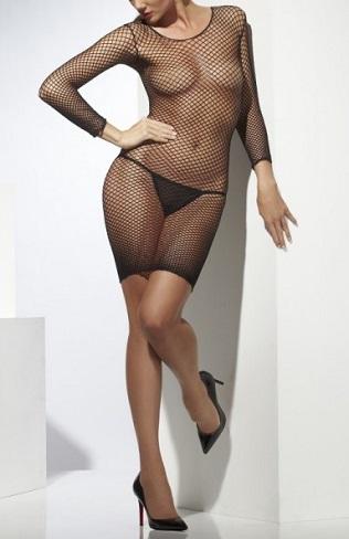 vestido-de-rejilla-negro-sexy