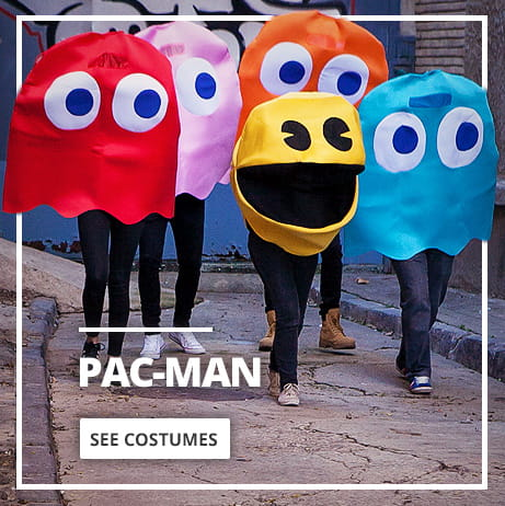 Pac-Man© costumes. Pac-Man and ghost fancy dress costumes: Pinky, Blinky, Inky and Clyde