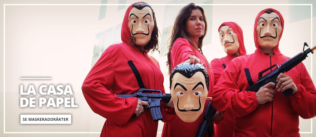 Maskeraddräkter La Casa de Papel och Dalí mask