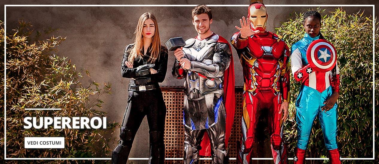 Costumi supereroi e vestiti super cattivi